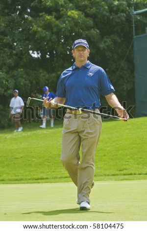 TORONTO, ONTARIO - JULY 21 : South African golfer Retief Goosen  during a pro-am event at the RBC Canadian Open golf  July 21, 2010 in Toronto, Ontario - stock photo