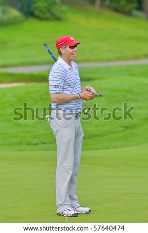 TORONTO, ONTARIO - JULY 21: U.S. golfer Ricky Barnes during a pro-am event at the RBC Canadian Open golf on July 21, 2010 in Toronto, Ontario. - stock photo