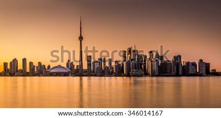 Toronto panorama at sunset viewed from Harbor Island Park - stock photo