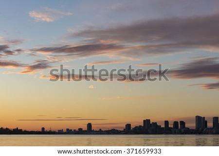 Toronto sky at sunset - stock photo