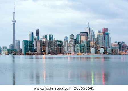 Toronto Skyline at dusk, Ontario, Canada - stock photo