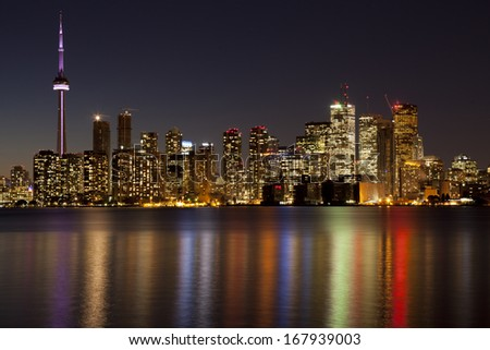 toronto skyline at night - stock photo