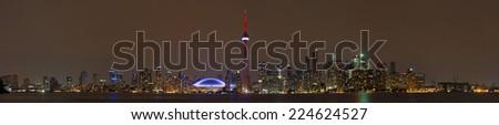 Toronto Skyline at night, Ontario, Canada - stock photo