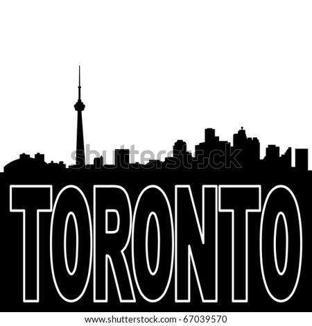 Toronto skyline black silhouette on white illustration JPEG - stock photo