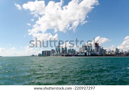 Toronto Skyline on Sunny Day on Lake Ontario - stock photo