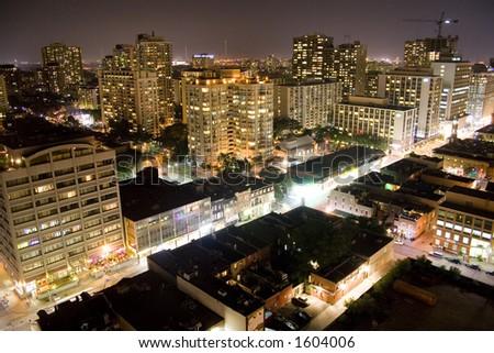 toronto street at night - stock photo