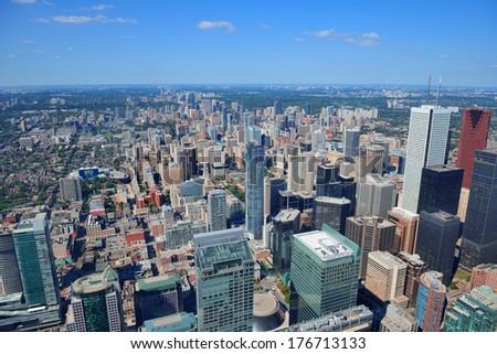 Toronto urban architecture aerial view. - stock photo