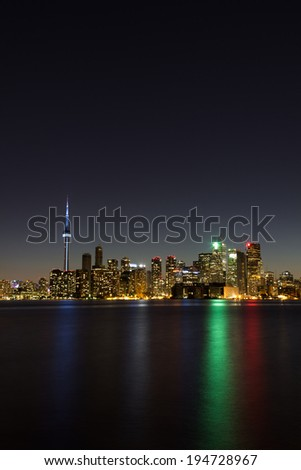 Toronto Vertical Cityscape at Night - stock photo