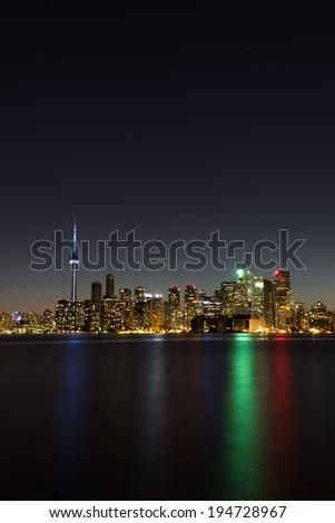 Toronto Vertical Cityscape at Night - stock photo