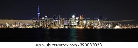 Toronto waterfront at night. - stock photo