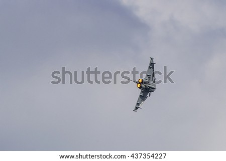 Torquay, Devon, UK, 12 June 2016 Showing various planes at the air display at the Torquay airshow, shot from public land during an overcast day - stock photo