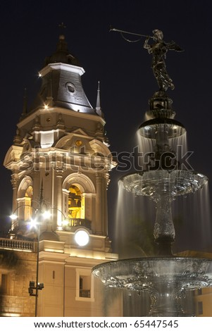 Torre de catedral de Lima y pileta, Perú - stock photo