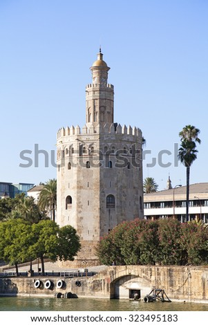 Torre del Oro (Tower of Gold) in Sevilla, Spain  - stock photo