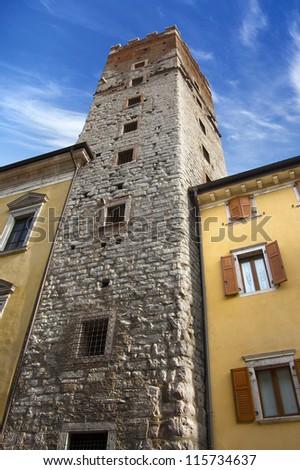 Torre della Tromba - Trento Italy / Trumpet Tower,ancient build in the city of Trento - Italy - XII century - stock photo