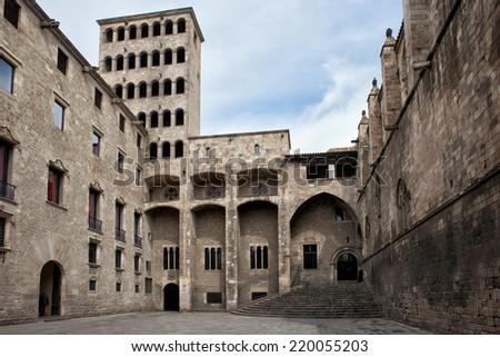 Torre Mirador and Palau del Lloctinent at Placa del Rei in Barcelona, Catalonia, Spain. - stock photo