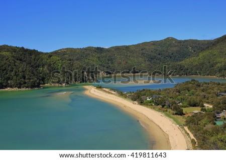 Torrent bay. Bay in the Abel Tasman National Park, New Zealand. - stock photo