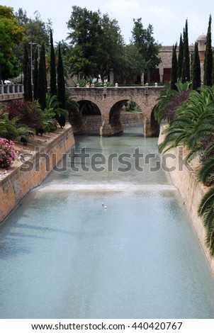 Torrent de sa Riera (River) Palma Majorca Spain  - stock photo