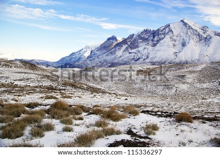 Torres del Paine National Park in Chile in the winter - stock photo