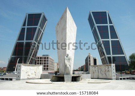 Torres Kio in Madrid (Spain) - Plaza de Castilla - stock photo