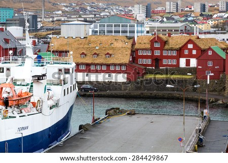 Torshavn, Faroe Islands, 7th February 2015. Torshavn port is a mix of traditional buildings and modern industry - stock photo