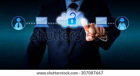 Torso of a businessman is accessing the computing power and on-demand labor of two mobile plug-and-play workers via cloud. Technology concept for casual labor, minijobber and zero-hours contractor. - stock photo