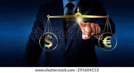 Torso of a trader equating the Dollar sign at par with the Euro symbol on a golden weight scale. Financial metaphor for modern foreign exchange market. Two dimensional illustration and photo image. - stock photo