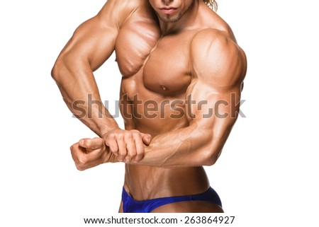 torso of attractive male body builder, isolated on white background. - stock photo