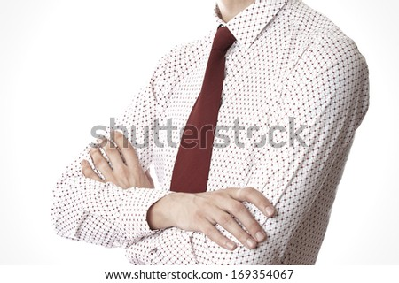 Torso of businessman with arms crossed on a white background - stock photo