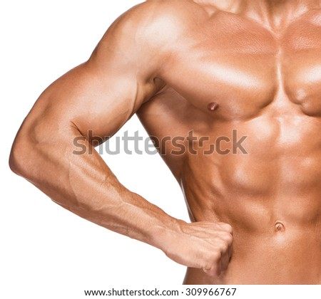 Torso of male body builder, isolated on white background - stock photo