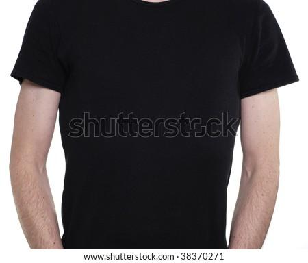 Torso of slim caucasian man wearing a plain black tshirt. - stock photo