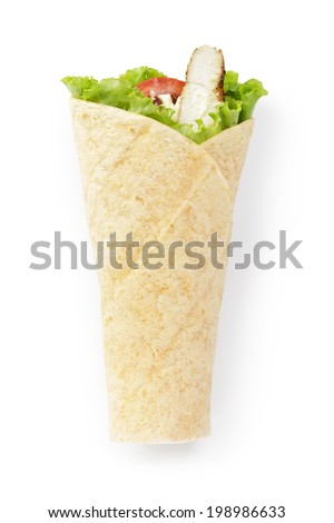 tortilla chicken wrap, directly above on white background - stock photo