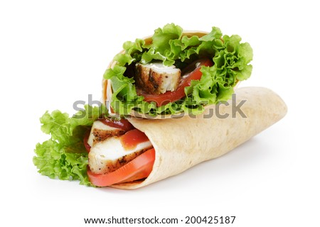 tortilla chicken wraps, isolated on wwhite background - stock photo