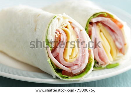Tortilla roll-ups with ham, cheese, and vegetables - stock photo