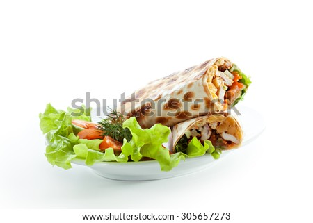 Tortilla with Chicken and Vegetables - stock photo