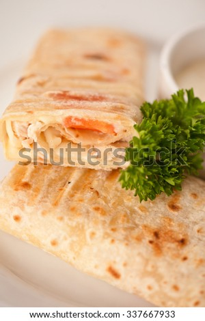 tortilla with chicken breast tomato and cheese served with sour cream - stock photo