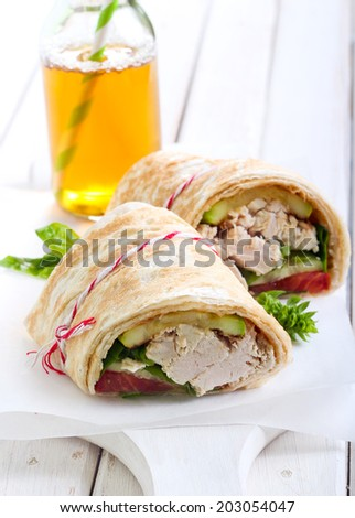 tortilla wrap with vegetable and chicken fillings - stock photo