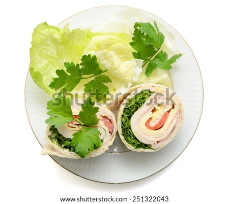 tortilla wraps with meat and vegetable on plate - stock photo