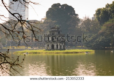 Tortoise Tower at Hanoi, Vietnam - stock photo