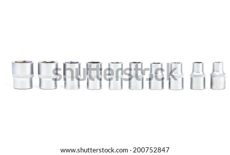 Torx Socket set for spanner on white background - stock photo