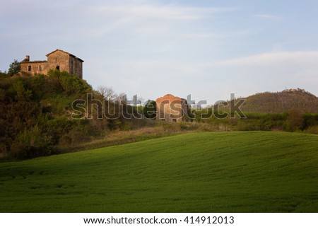 Toscana Italy in sunset light - stock photo