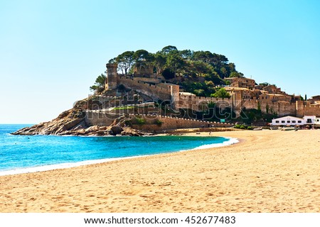 Tossa de Mar Castle, view from the beach. Costa Brava, Spain - stock photo