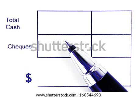 total cash form and pen isolated - stock photo