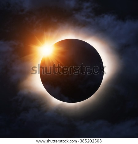 Total eclipse of the sun - stock photo