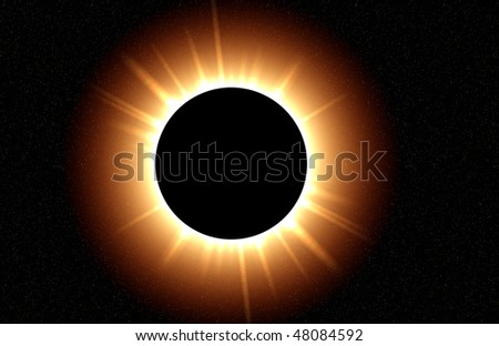 Total eclipse with the suns rays clearly shining. Computer generated. - stock photo
