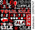 total sale, crazy doodles isolated on black background - stock photo