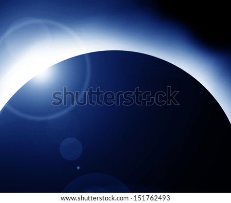 total solar eclipse on a dark background - stock photo