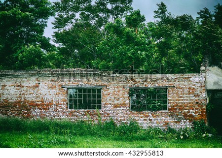 Totally ruined family house. Devastated house. Abandoned house. Ruined walls. - stock photo