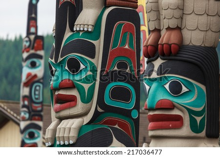 Totem pole by North American Native indians - stock photo