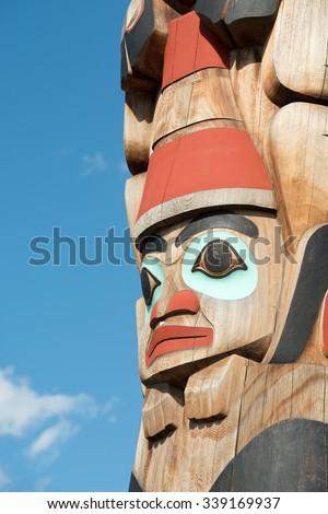 Totem Pole Detail in Jasper, Canada - stock photo