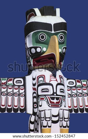 Totem Pole in Stanley Park in the city of Vancouver in British Columbia, Canada. - stock photo